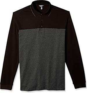 Men's Big and Tall Flex Long Sleeve Jaspe Colorblock Polo Shirt