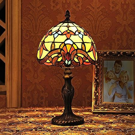 Gweat 8 Pouces Baroque Européenne Tiffany Lampe De Table Chambre Lampe Lampe De Chevet