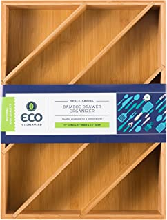 """Eco Kitchenware Diagonal Space Saving Bamboo Drawer and Cabinet Organizer Divider fits Drawers 17"""" X 12"""" X 2.5"""