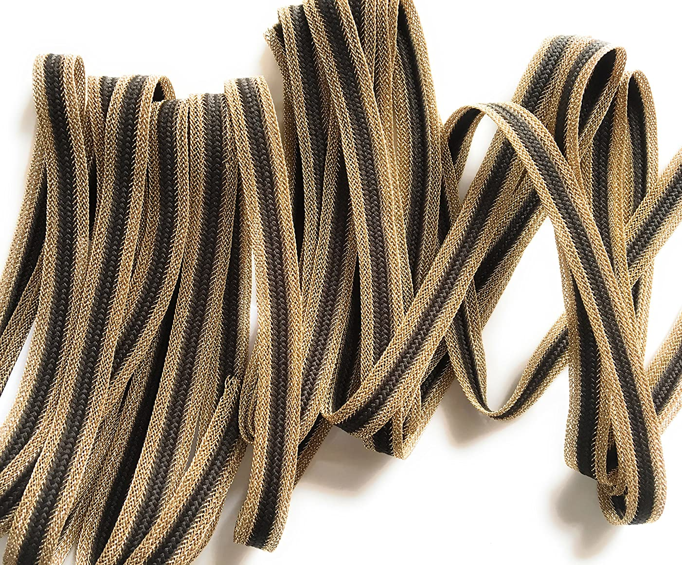 Brown/Gold Braided - -Flat Cord -,3/8