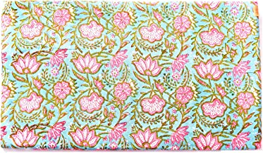 Handicraft-Palace Floral Print Dress Making Soft Fabric Hand Block Printed Natural Running Fabric Voile Sanganeri Craft Making Fabric (Turquoise_2.5 Meter)