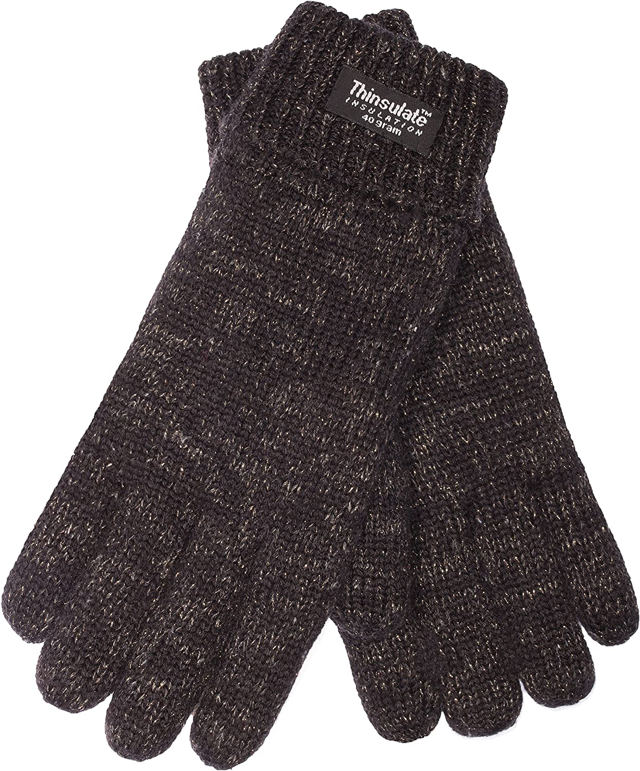 EEM ladies knit gloves JETTE with Thinsulate thermal lining, 100% wool, black gold XL