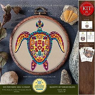 Mandala Turtle #K481 Cross Stitch Embroidery Kit | Funny Animals Cross Stitch Patterns | How to Cross Stitch | Needlepoint Kits | Cross Pattern