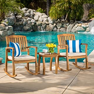 """Christopher Knight Home 297254 South Hampton Rocking Chair with Cushion (Set of 2) and Acacia Accent Table, Dimensions: 33.25""""D x 24.00 """"W x 35.75""""H, Set Teak Finish"""