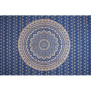 FUTURE HANDMADE Twin Ombre Lemon Yellow red Tapestry Wall Tapestry Hippie Tapestry Wall Hanging Indian Psychedelic Tapestry Mandala Beach Throw Boho Tapestries Bohemian Bedspread Size 81x55 Inches FH23