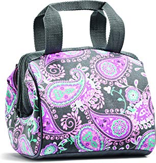 """Fit and Fresh 902FFST808 Charlotte Insulated Lunch Bag for Women, 9"""" x 6"""" x 8"""", Pink Aqua Paisley"""
