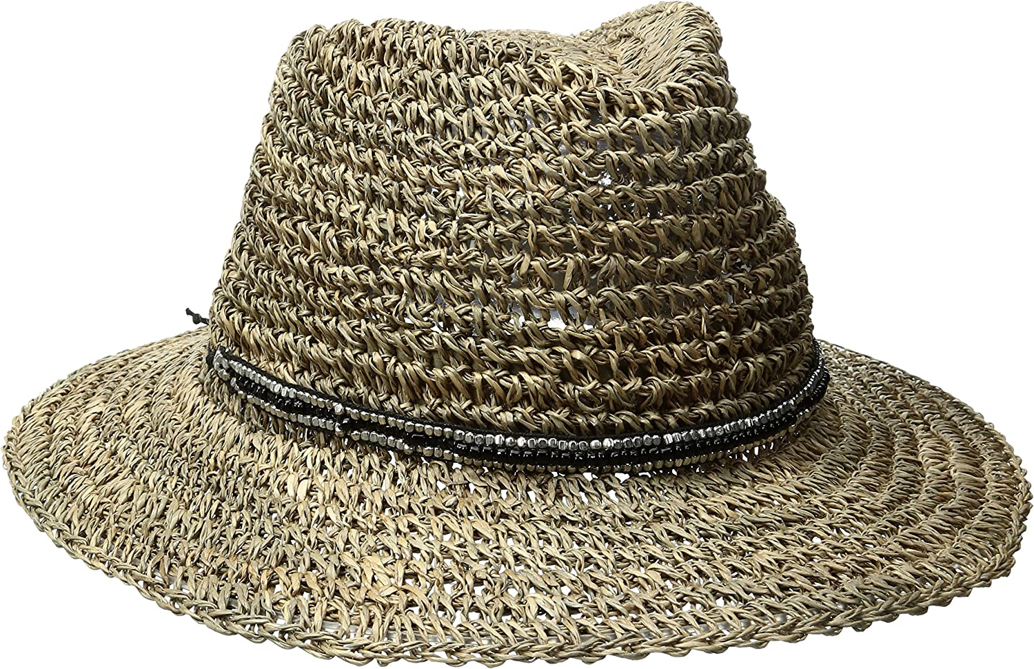 'ale by alessandra Womens Trancoso Crochet Seagrass Hat with Beaded Metal Trim Sun Hat