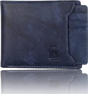 Le Craf Men's Blue Genuine Leather RFID Blocking Wallet W4230829
