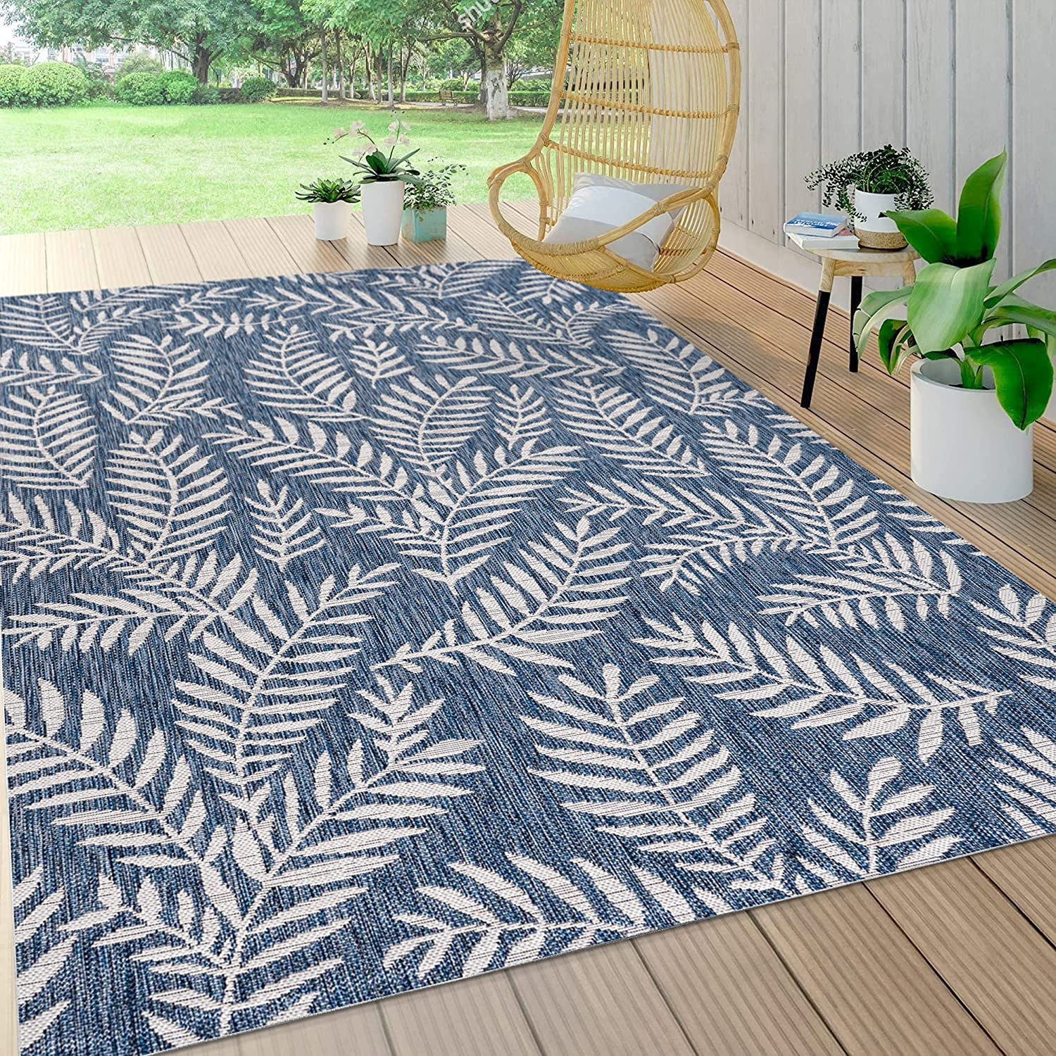 JONATHAN Y Nevis Palm Frond Indoor Outdoor Navy 5 ft. 3 x quality 67% OFF of fixed price assurance Ivory