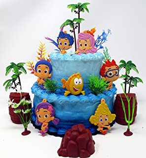 BUBBLE GUPPIES Deluxe Birthday Cake Topper Set Featuring Bubble Guppies Characters and Decorative Themed Accessories