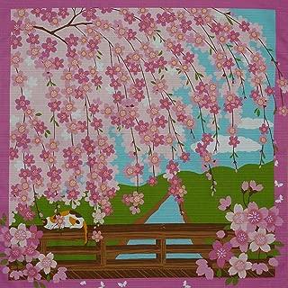 Furoshiki Cat on Bridge with Cherry Blossoms Motif Japanese Fabric 50cm