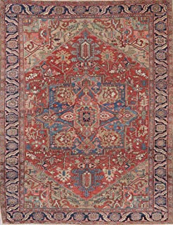 Antique Pre-1900 Heriz Serapi Persian Oriental Wool Area Rug Geometric Hand-Knotted 9x12 (11' 9'' X 9' 1'')