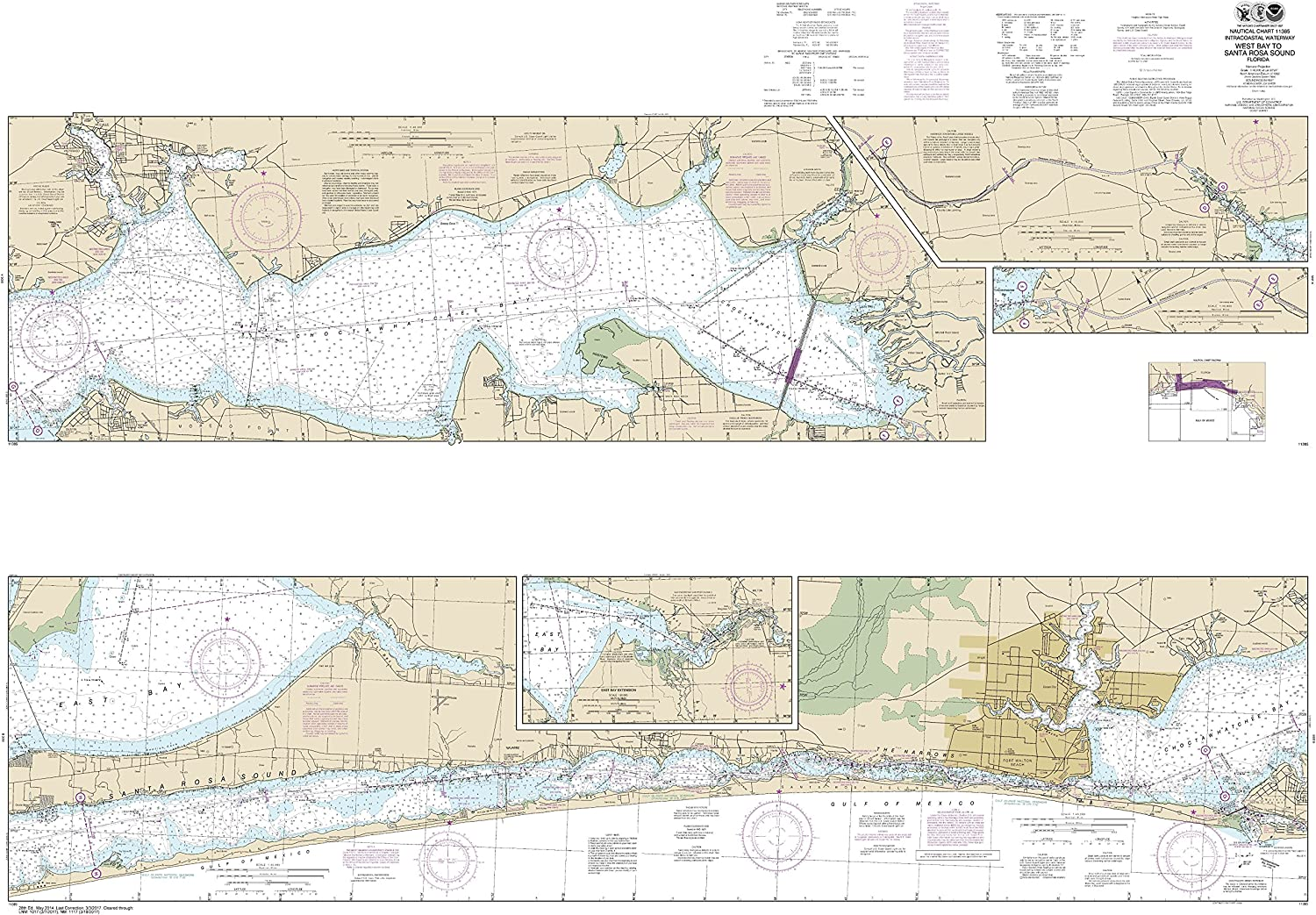 Noaa Chart 11385 Intracoastal Waterway West Bay to Santa pink Sound  41.01  X 58.92  Paper Chart