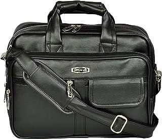 "ZIPLINE Office Laptop Vegan Leather Executive Formal 13"" Laptop Briefcase Messenger Bag for Men Women with Multiple compartments (Black)"