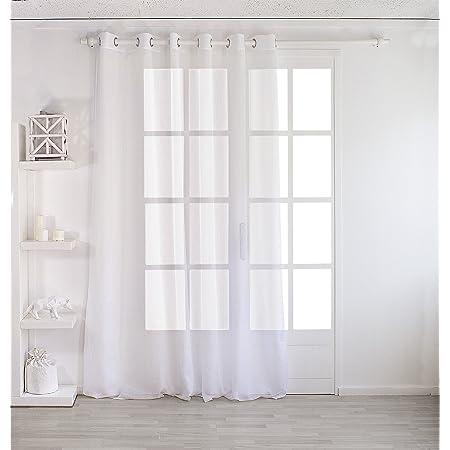 MRTREES Lot de 2 Rideau Voilage Blanc de Fen/être /à Oeillet Semi-Transparent Effet Lin Petit Rideaux L/éger Simple Romantique pour Salon Moderne Chambre Cuisine Baie Vitr/ée 140x145cm