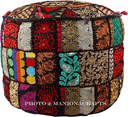 Maniona Crafts Indian Patchwork Pouf Cover Indian Living Room Pouf,  Decorative Ottoman, Embroidered Designer Ottoman,  Home Living Footstool Chair Cover,  Bohemian Ottoman Pouf Decor 14x22 Inch.