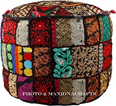 Maniona Crafts Indian Patchwork Pouf Cover Indian Living Room Pouf, Decorative Ottoman,Embroidered Designer Ottoman, Home Living Footstool Chair Cover, Bohemian Ottoman Pouf Decor 14x22 Inch.