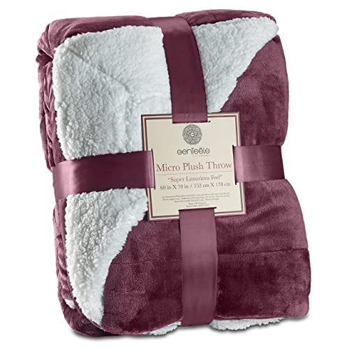 a9019a3c667 Amazon.com  Genteele Sherpa Throw Blanket Super Soft Reversible Ultra  Luxurious Plush Blanket (50
