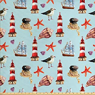 Ambesonne Seagulls Fabric by The Yard, Nautical Pattern with Sail Rope Starfish Shell Lighthouse Sailer Marine, Decorative Fabric for Upholstery and Home Accents, Pale Blue Red Ivory