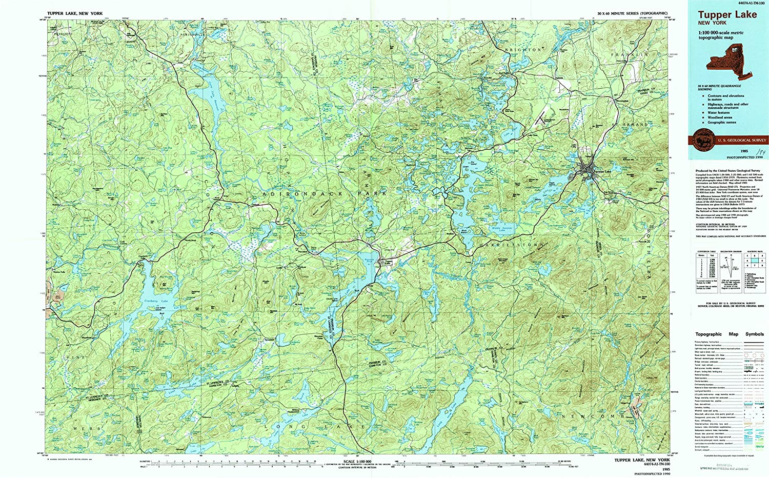 Tupper Lake NY topo map, 1 100000 Scale, 30 X 60 Minute, Historical, 1985, Updated 1994, 24.1 x 39 in