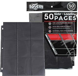 Totem World 50 Side Load 9-Pocket Pages for Pokemon, Magic, YuGiOh Card Holder - Fits 3 Ring Binder (Black)