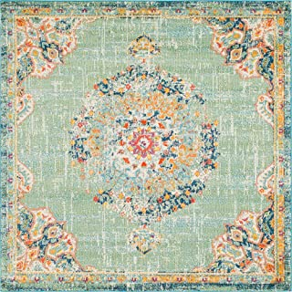 Unique Loom Penrose Collection Traditional Vintage Distressed Green Square Rug (8' 0 x 8' 0)