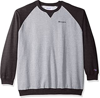 Champion Men's Big and Tall Fleece Ls Crew Raglan with Contrast Sleeves, Oxford