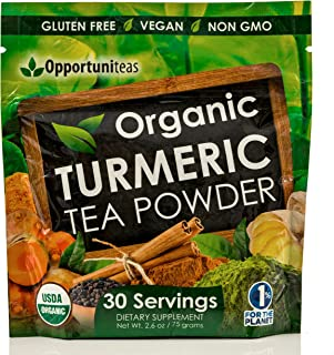 Organic Turmeric Tea Powder - Matcha Green Tea, Turmeric, Cinnamon, Ginger, Black Pepper - Natural Joint Support Supplement for Juice, Smoothie & Drinks - Vegan & Non-GMO - 30 Servings