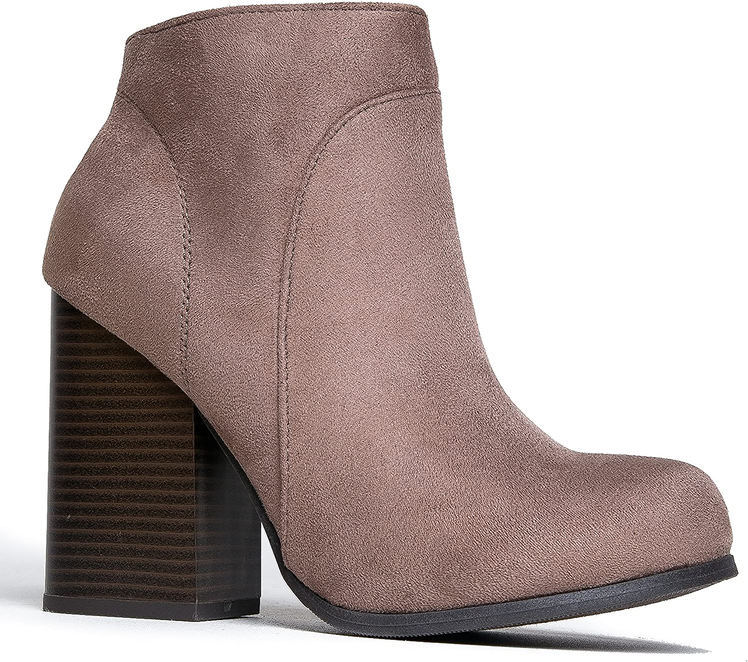 J. Adams Classic Chunky Heel Bootie - Comfortable Western Closed Toe Boot - Zipper Low Heel Casual shoes - Eden by