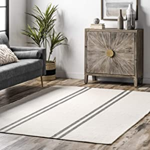 nuLOOM Stacia Stripes Wool Flatweave , 2' x 8', Ivory