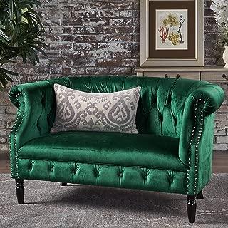 Christopher Knight Home Melaina Emerald Tufted Rolled Arm Velvet Chesterfield Loveseat Couch