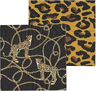 40 Count Cheetahs and Chains, 2 Packs of 20, 3 Ply Paper Napkins, Black and Yellow, Luncheon Size 6.75 Inches, Food Safe Ink