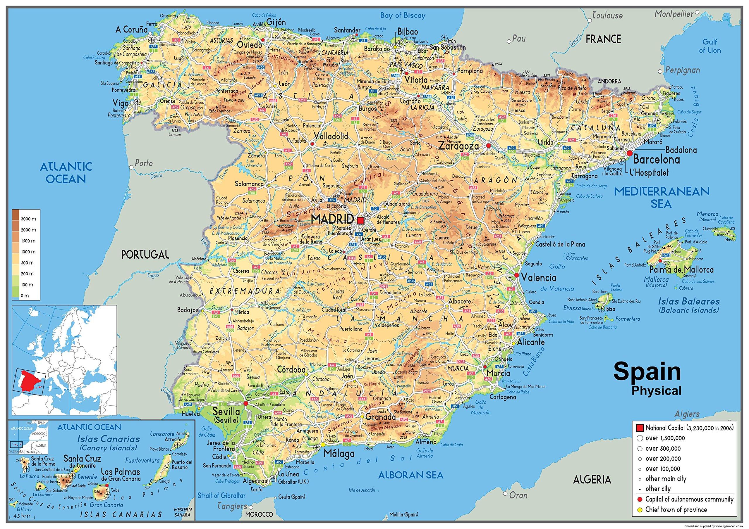 Mapa España Físico – Papel laminado – tamaño A0 – 84,1 x 118.9 cm: Amazon.es: Oficina y papelería