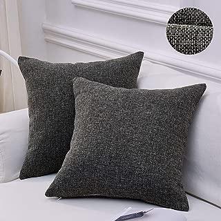 MoMA Decorative Faux Linen Throw Pillow Covers (Set of 2) - Pillow Cover Sham Cushion Cover - Throw Pillow Cover - Sofa Throw Pillow Cover - Square Decorative Pillowcase - Dark Gray - 18