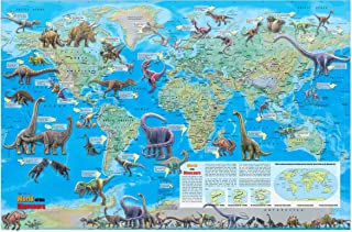 CoolOwlMaps World of The Dinosaurs Wall Map Poster - 36x24 Rolled Paper Kids Map 2018
