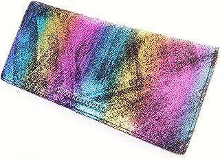 Marietta Bifold Wallet Black Rainbow Shimmer Leather