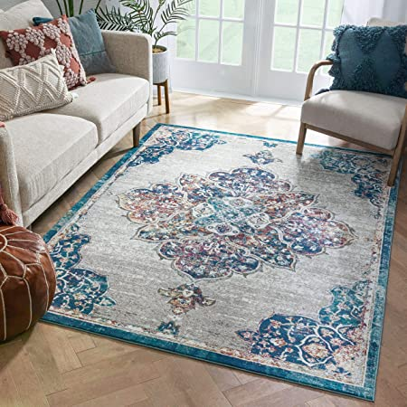 Well Woven Annabelle Ivory Blue Vintage Bohemian Medallion Design Area Rug 5x7 5 3 X 7 3 Home Kitchen