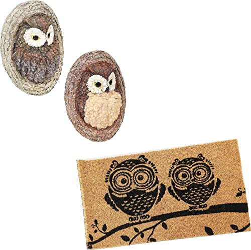 Sunnydaze Winifred and Wesley The Wise Old Owls Polyresin Tree Huggers and Black/Tan Owl 17-Inch L x 29-inch W PVC and Coir Indoor/Outdoor Doormat Bundle