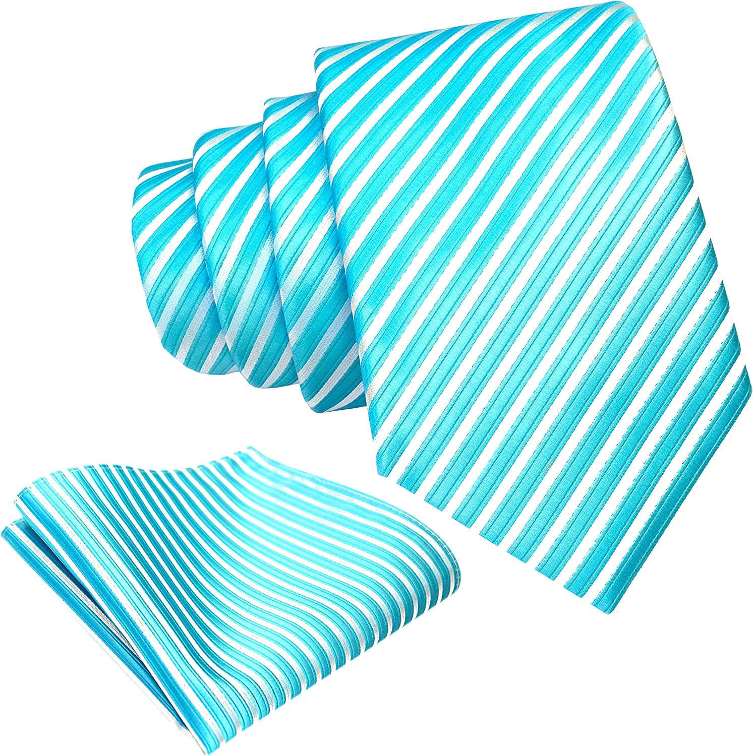 Mens Necktie Set - Neck Tie and Pocket Square Set - Assortment of Colors and Patterns