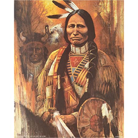 C Native American Indian At Sunset Art Print Home Decor Wall Art Poster