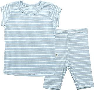 AVAUMA Baby Boys Girls Solid Melon Stripe Pj Set Kids Pajamas Short Sleeve Cotton 100%