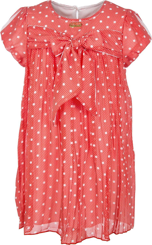 Lilax Little Girls' Polka Dot Dress with Big Bow
