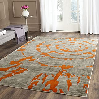 Safavieh Porcello Collection PRL7735F Light Grey and Orange Area Rug (10' x 14')