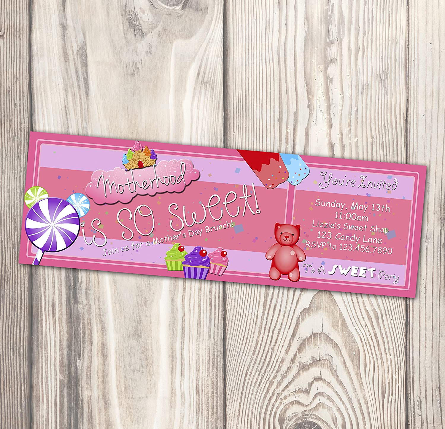 Max 82% OFF Mother's Day Ticket Invitation - Candy is Motherhood National products SO SWEET