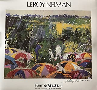 Arnie in the rain Arnold Palmer Leroy Neiman signed signed litho print psa dna