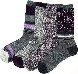 Ladies' Trail Socks Merino Wool, 4 Pairs, Charcoal/Purple (Charcoal/Purple)