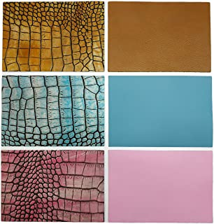 """Upon Leather- 6 Genuine Leather Pieces. Cowhide Embossed Croc Pattern & Matching Plain Colors   17.7x12.2 cm./ 7""""x4.8"""" in.  Sheets pre-cut from whole skins. For crafts, earrings, jewelry. Happy Colors"""