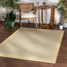 "Well Woven Woden Bright Yellow Indoor/Outdoor Flat Weave Pile Solid Color Border Pattern Area Rug 5x7 (5'3"" x 7'3"")"