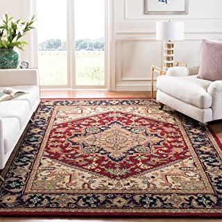 Safavieh Heritage Collection HG625A Handcrafted Traditional Oriental Heriz Medallion Red Wool Area Rug (8' x 10')