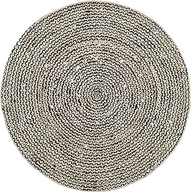 nuLOOM Glinda - Alfombra de Fibra Natural de Yute Redonda, 1,8 m, Color Negro